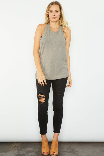 Arrington Twist-Back Tank - Grey