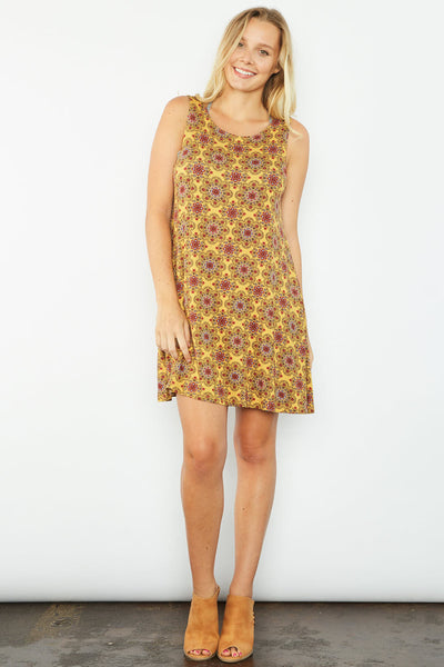 Ruthie Print Dress - Mustard
