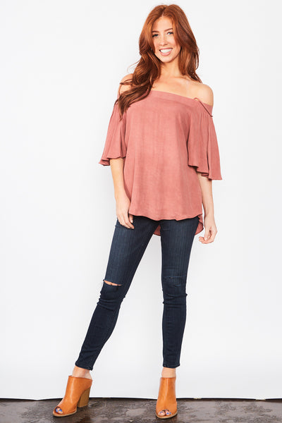 Micah Off-The-Shoulder Top - Mauve