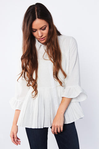 Amber Peplum Button Down Top