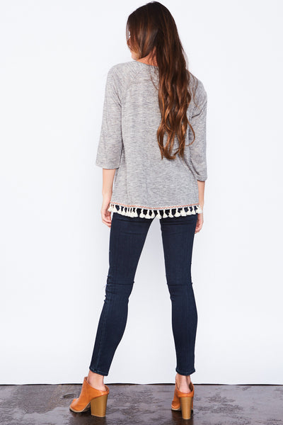 Ella Fringe Top - Grey