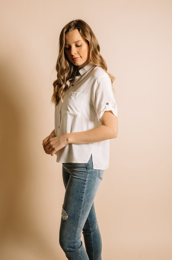 Violet Button Up Blouse - Ivory