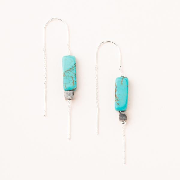 Rectangle Stone Earring - Turquoise/Black/Silver