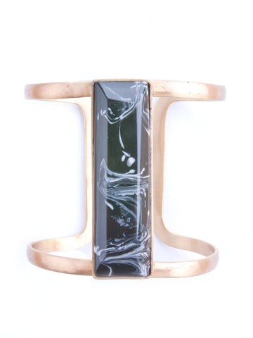 Marbled Stone Cuff - Black
