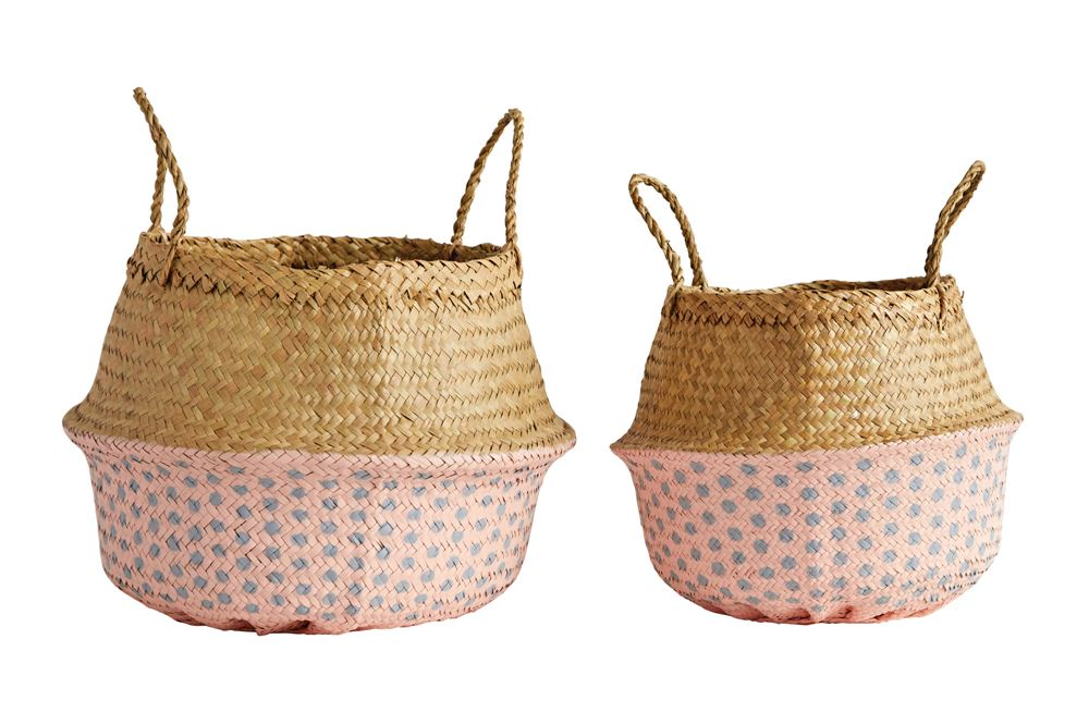 Painted Palm Basket - Pink + Grey Dots Home Goods - Vinnie Louise