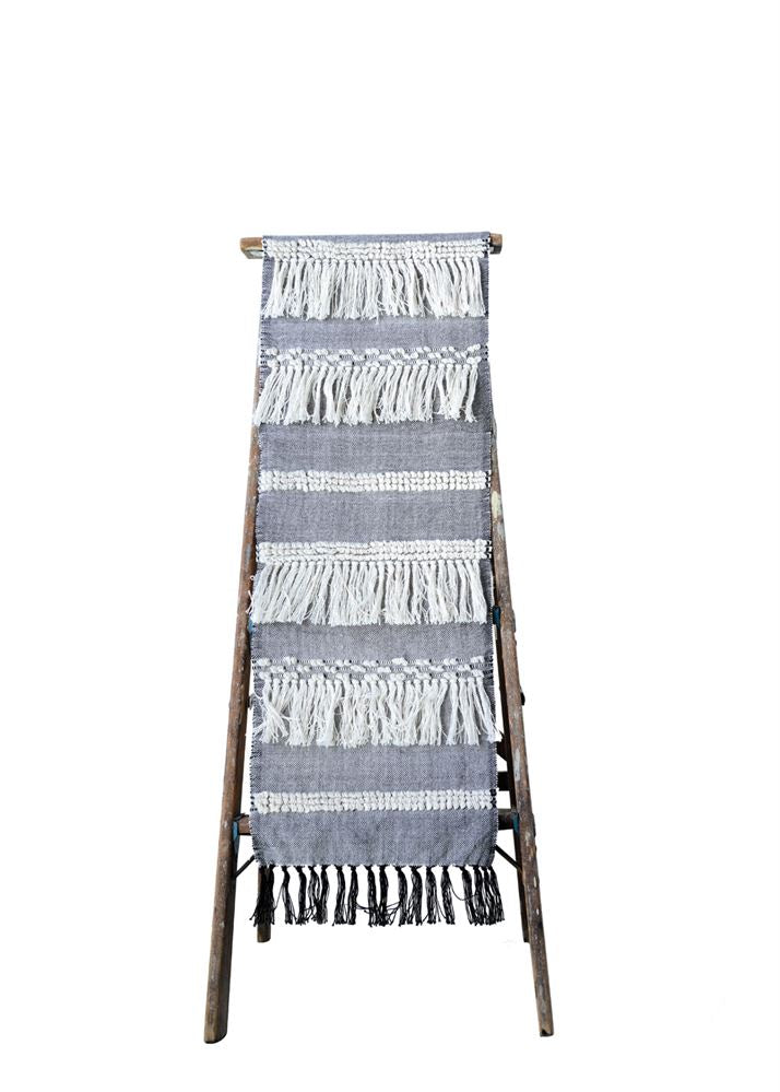 Cotton Table Runner W/Fringe