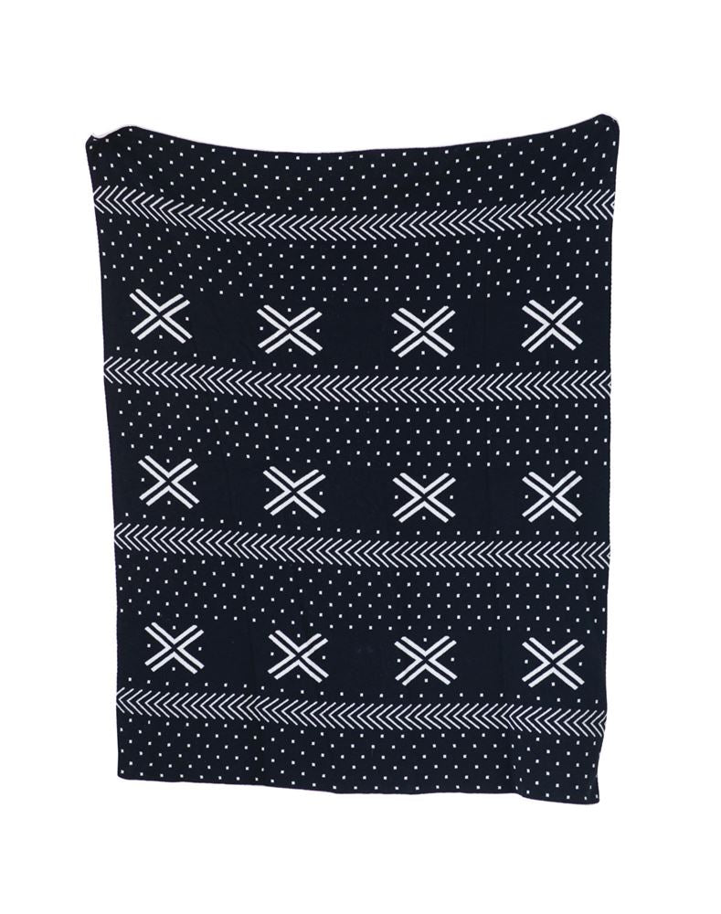 "32""L x 40""W Cotton Knit Blanket, Black & White"