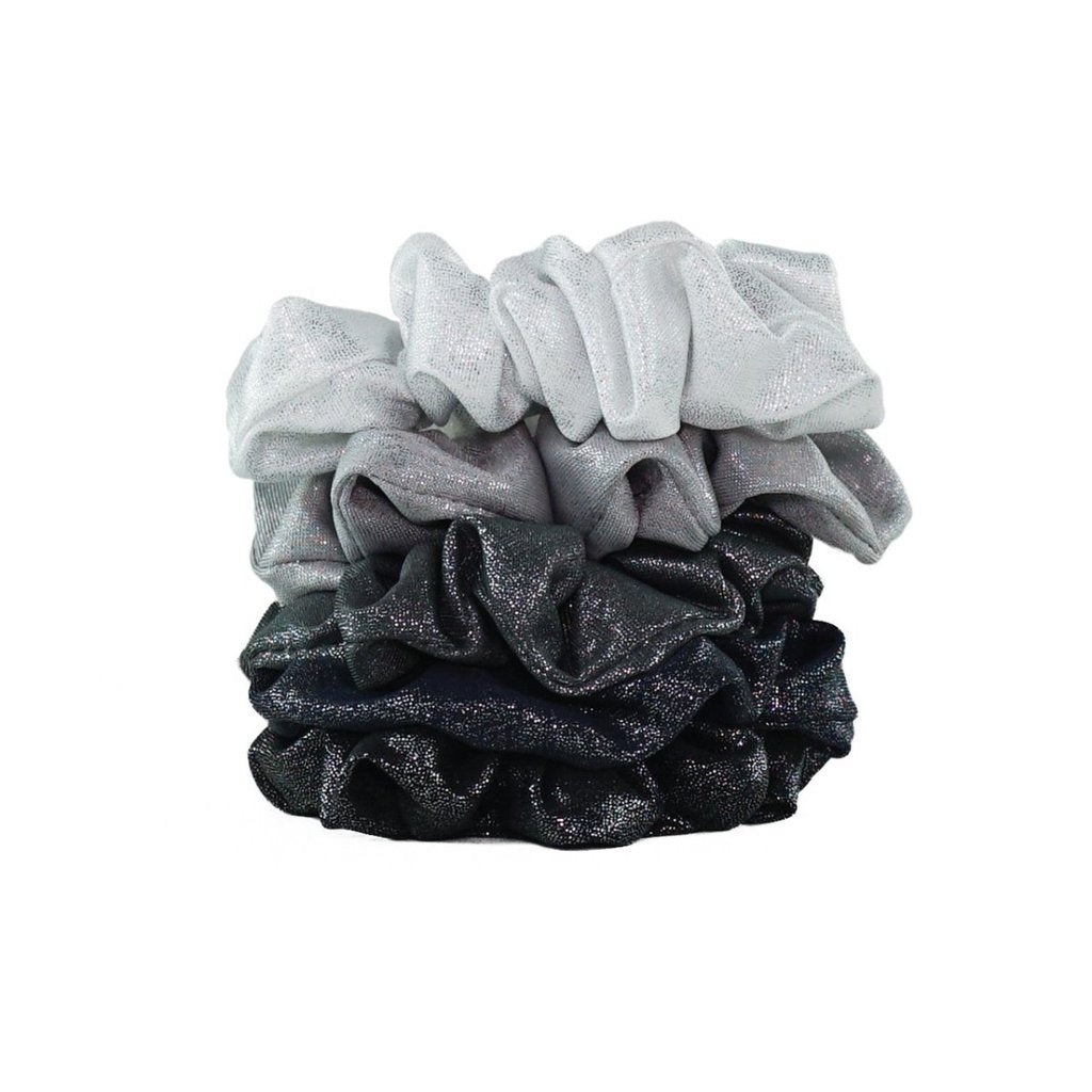 Metallic Scrunchies - Black/Grey