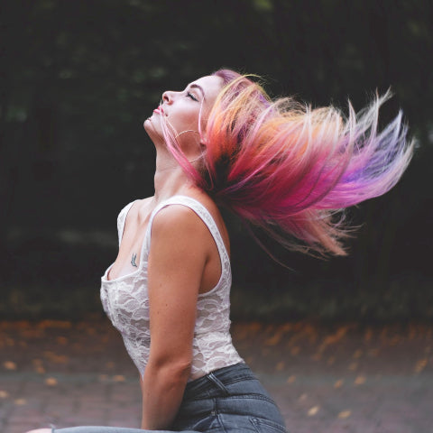 Girl with coloured hair