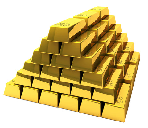 Pile of gold demonstrating money spent on shampoo advertising and development
