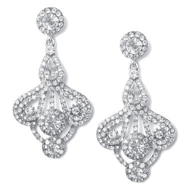 Ethel Double Crystal Rhinestone Drop Earrings