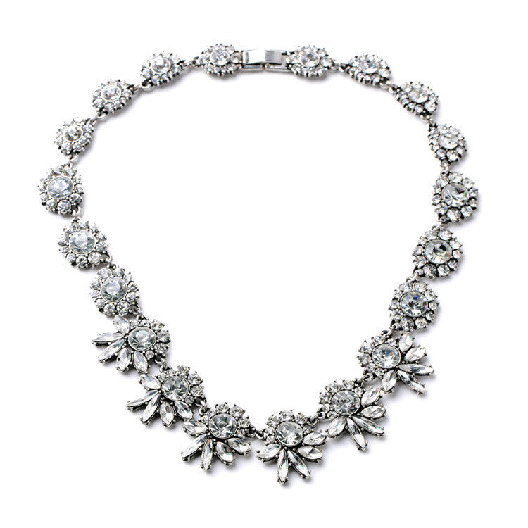 """Elena"" Crystal Rhinestone Statement Necklace"