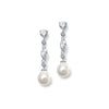 Lynnette Linear CZ Pearl Drop Earrings