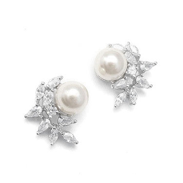 Anastasia Soft Cream Pearl Crescent Stud Earrings