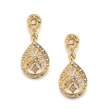 14k Gold Plated Vintage Etched CZ Drop Earrings