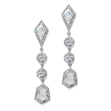 Caliegh Vintage CZ Scroll Earrings with Freshwater Pearls