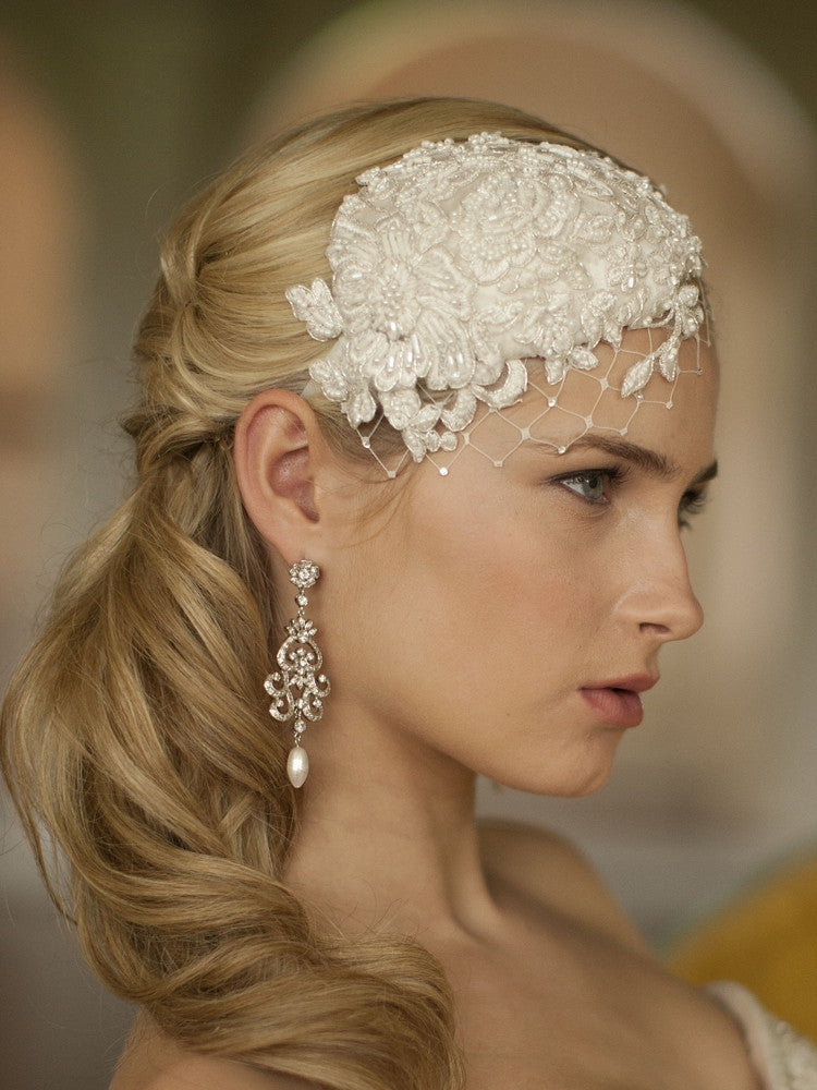 Claudette Retro Lace and Silk Bridal Hair Accessory