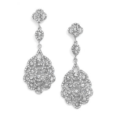 Plated Antique Silver Vintage Chandelier Earrings