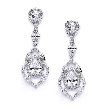 Crystal Rhinestone Double Droplet Earrings - SALE