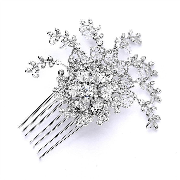 Floral Wedding Crystal Spray Comb