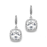 Cushion Cut CZ Drop Earrings