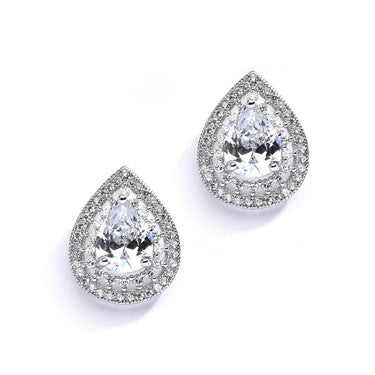 Designer Micro Pave Teardop Stud Earrings
