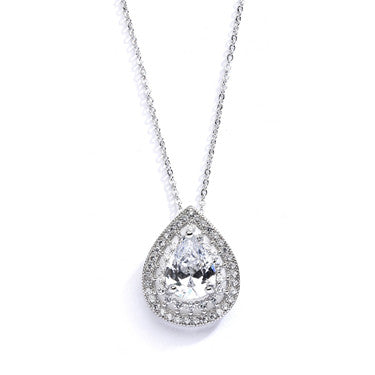 14k Gold Plated Pave Pear CZ Drop Necklace