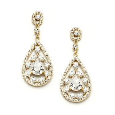 Anise Pear Shaped Halo CZ Studs