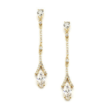 Antiqued Gold Crystal Baguette Crawler Earrings