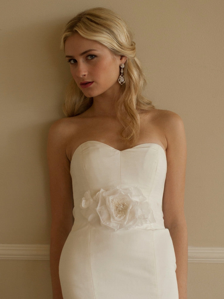 Handmade White Silk Flower Bridal Belt with Sheer Ribbon