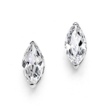 Rhodium Plated Lustrous CZ Marquis Solitaire Stud Earrings