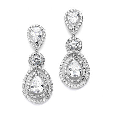 jewelry clip brass earrings drop bling bridal my rhodium plated az pear on cz
