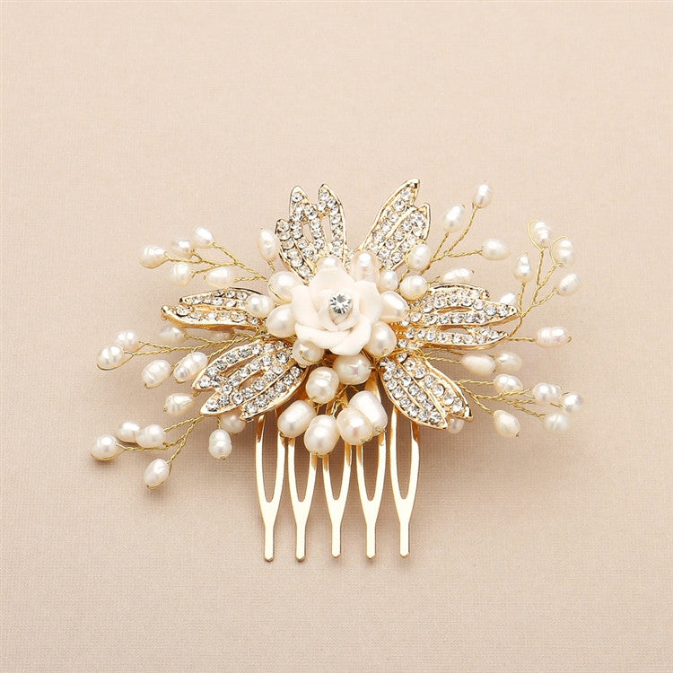 Cecilia Pave Crystal Freshwater Pearl Hair Comb