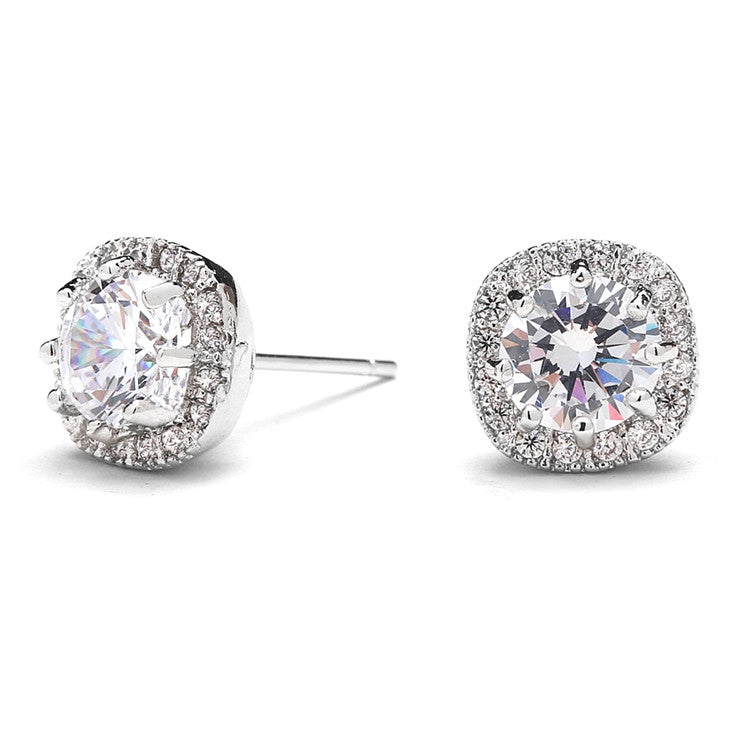 Astrid Cushion Shaped Cubic Zirconia Halo Studs