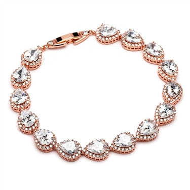 Lynece 14k Rose Gold Plated Halo Pear CZ Bracelet