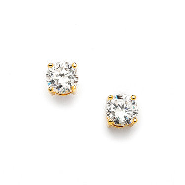 Plated 14k Gold Round CZ Stud Earrings