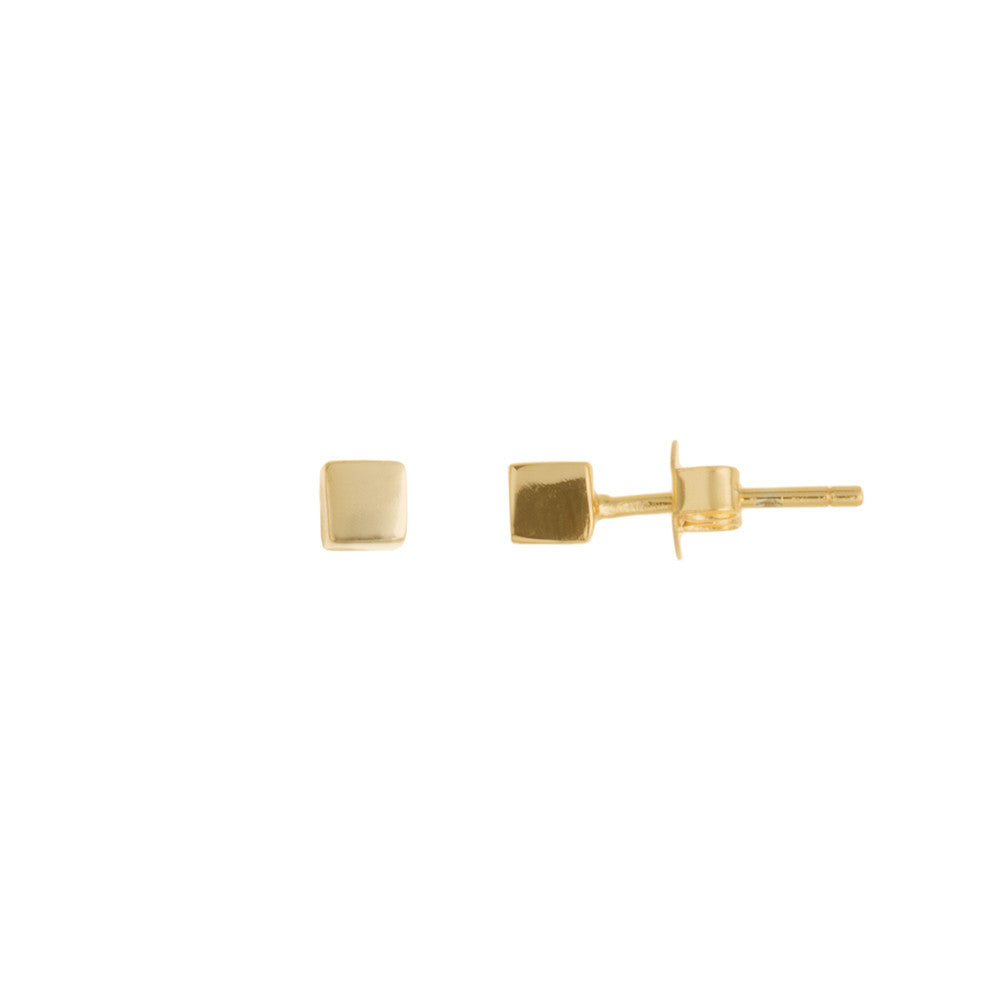 14k Gold Plated Simple Boxed Stud Earring
