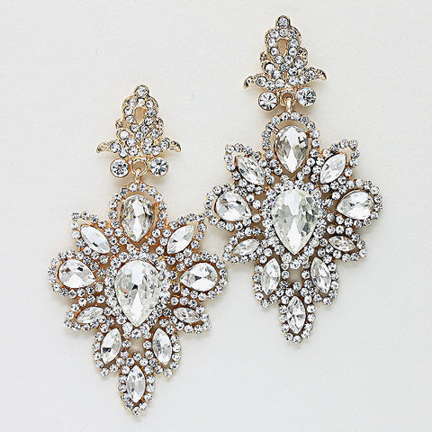 Crystal Rhinestone Double Teardrop Earrings