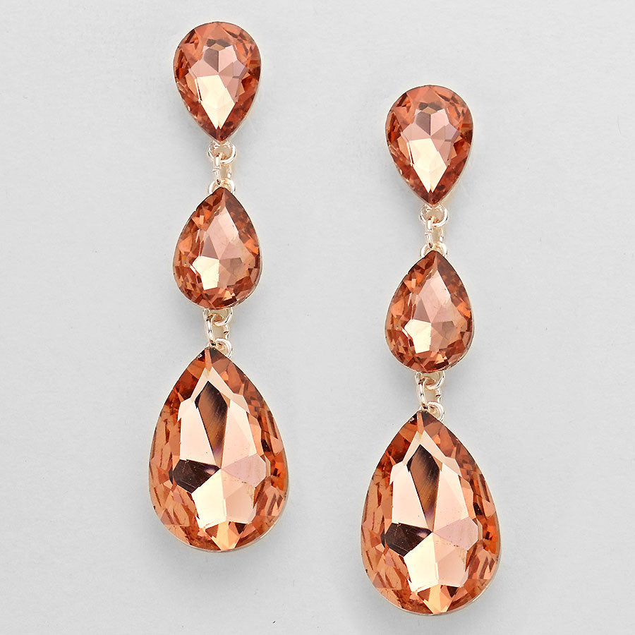 "Triple Teardrop Crystal ""Caroline"" Earrings"