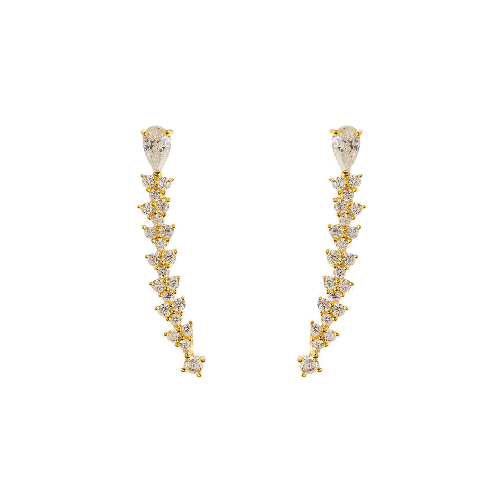 Imogen 14k Gold Plated Curved Illusion Crawler Earrings