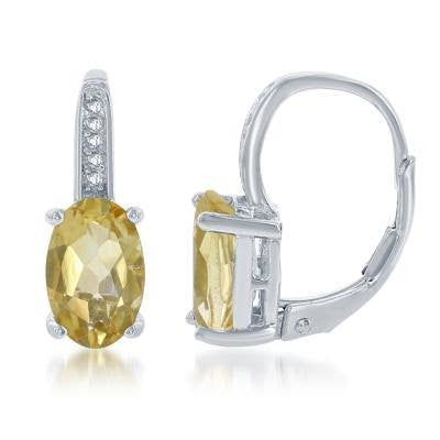 Sterling Silver Oval Citrine with White Topaz Accent Earrings