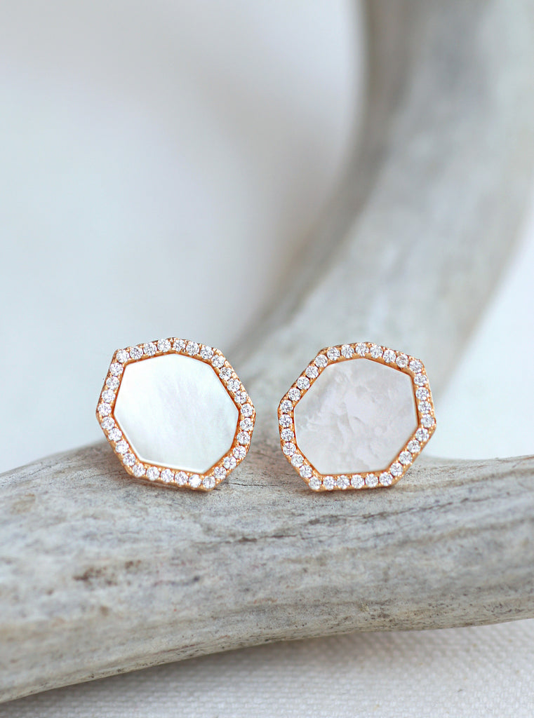 Gold Plated Mother of Pearl Hexagon CZ Earrings