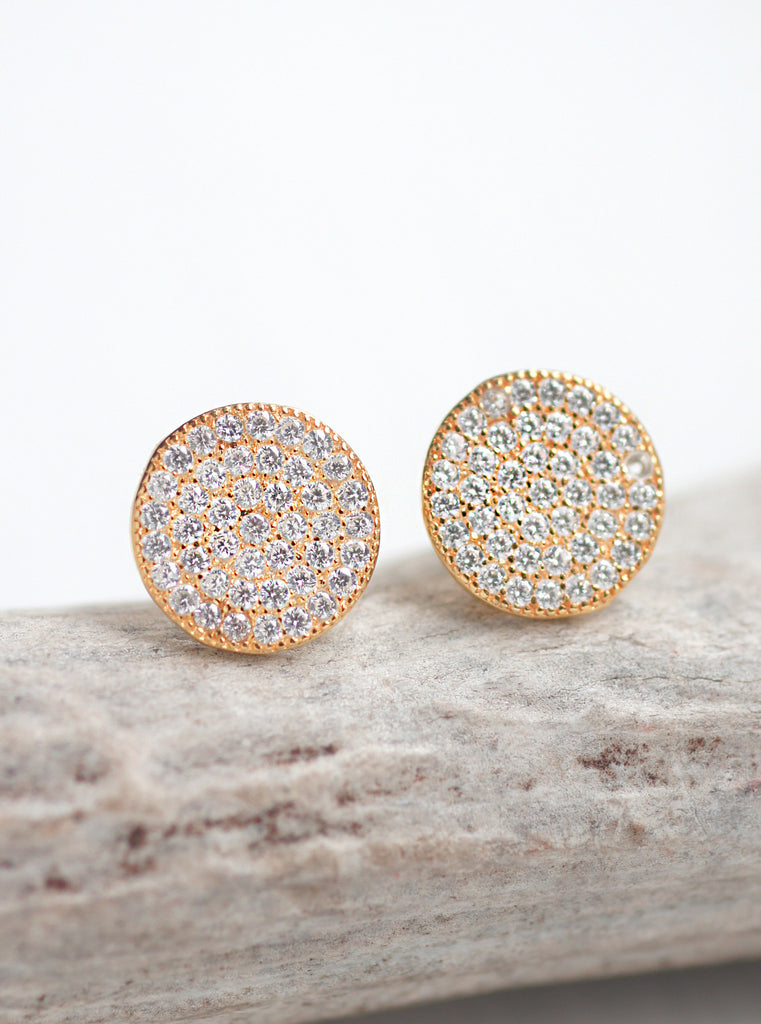 14k Gold Plated Sterling Silver Mini Disc Stud Earrings