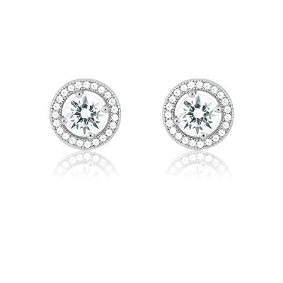Sterling Silver Round CZ Halo Stud Earrings