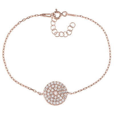 Gold Plated Sterling Silver CZ Disc Bracelet