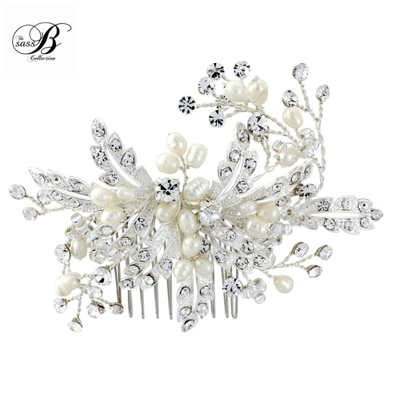 Ophelia Crystal Pearl Hair Comb