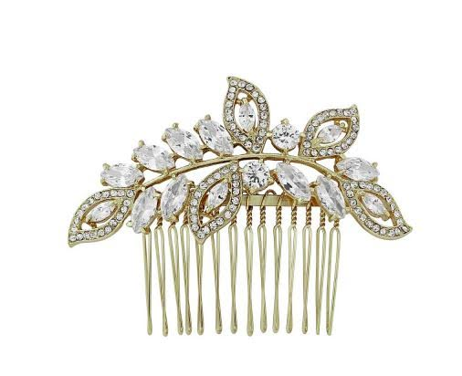 Cascading Antiqued Gold Crystal Pear Bridal Comb