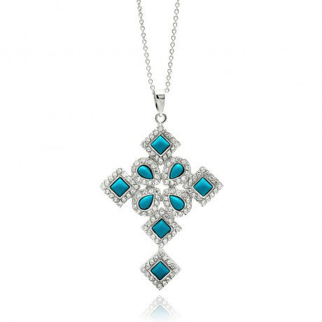 Rhodium Plated Sterling Silver Turquoise and CZ Delicate Cross Pendant