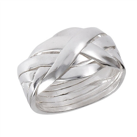 6 Piece Puzzle Ring in Sterling Silver