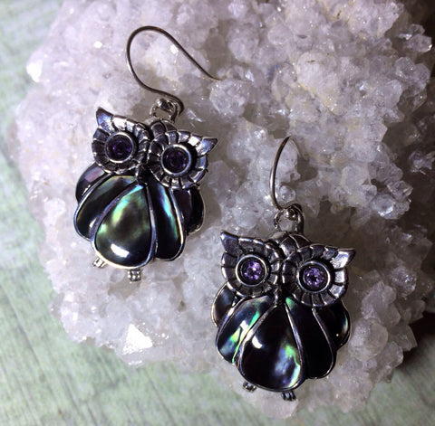 Sterling  Silver Owl Earrings In Sterling And Mother Of Pearl